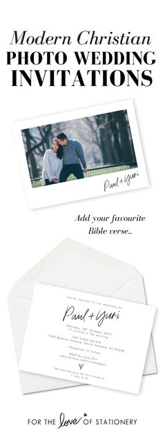 Modern Christian Photo Wedding Invitations | Add Your Favourite Bible Verse | For the Love of Stationery