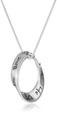 "Sterling Silver ""Love Life Be Brave"" Circle Pendant Necklace , 18"" 