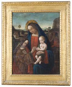 """Biagio d'Antonio 1450 """"Sposalizio mistico di Santa Caterina d'Alessandria con San Girolamo"""" olio su tela applicata su tavola cm 73 x 59"""