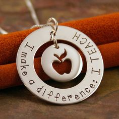 Hand Stamped Teacher Necklace Personalized by IntentionallyMe Teacher Necklace I make a difference
