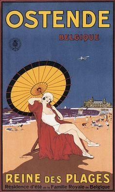 Ostende Beach , Belgique Vintage travel 20s beach posters…