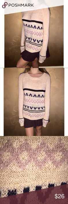 Adorable Long Sleeve Knitted Crochet Sweater Super long sweater, cute & stylish ;p Sweaters Crew & Scoop Necks