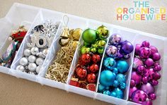 Christmas ornament storage idea: Not only does this container offer six different compartments for different kinds of ornaments, but it's also transparent so next year you can peek through to see what's inside without having to lift the lid.