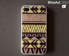 iphone 4 case  geometric art on wood print  lemon by BlissfulCASE, $14.99