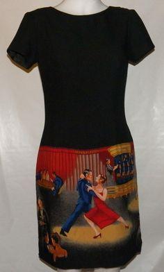 Karin Stevens Vintage Dress Size 6 Black Dancing by Gingernells, $18.55