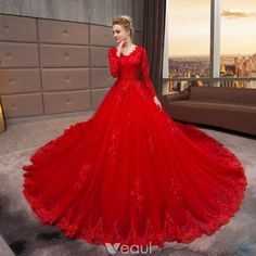 Vintage Long Sleeve Lace Wedding Dress 2019 Vestido De Noiva V Neck Ball Gown Red Wedding Gowns Long Train Robe De Mariee online shopping mall, buying fashion dresses & rapid delivery. Start your amazing deals with big discounts! Red Wedding Gowns, Tulle Wedding Gown, Muslim Wedding Dresses, Wedding Gowns With Sleeves, Red Gowns, Luxury Wedding Dress, Long Sleeve Wedding, Bridal Gowns, Lace Wedding