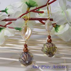 """boucles d'oreilles, perle au chalumeau """"la mer 1"""" de la boutique AuxPetitsArtistes2 sur Etsy"""