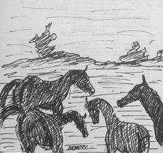 E. Besozzi pitt. s.d. (1971) Cavalli pennarello su carta cm. 22,7x17 arc. 1188