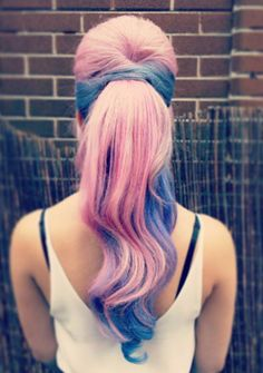 Pink blue dyed hair color @flamingoamy