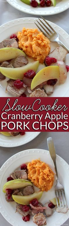 Crock pot pork chops or pork ribs simmer with cranberries, onion and apples to create a delicious dish flavored with balsamic vinegar. Try this easy and delicious slow cooker recipe. #Crockpot #easydinner