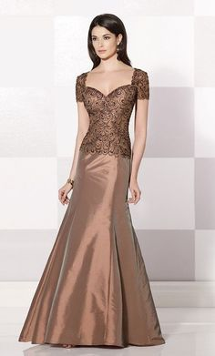 Cameron Blake Bronze Mother Of The Bride Dress Gown Size 14 Style 214685 #Dress