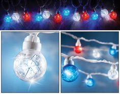 Add some sparkle and shine to your patriotic decorations. 25 Sparkling globe lights have silver tinsel inside that make the red, white and blue lights Patriotic Party, Patriotic Decorations, Decorative Night Lights, Globe String Lights, Collections Etc, Lake Cottage, American Spirit, Flag Decor, Solar Lights