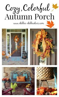 Add some serious fall cozy with some front porch and door decorating.