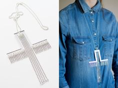 Cross & chains necklace in silver