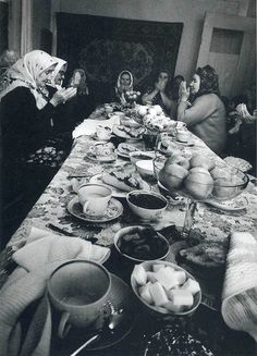 Muslim prayer over meal. Old Russia //