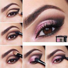 Tutorial maquillaje Sombras rosas y delineado.