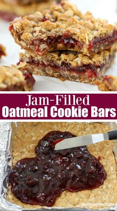 Oatmeal Jam Bars - Bars & Brownies - Buttery brown sugar Oatmeal Bars with a fruity jam filling. Baking Recipes, Cookie Recipes, Cookie Desserts, Dessert Recipes, Bar Recipes, Vegan Recipes, Recipies, Thumbprint Cookies Recipe, Jam Cookies