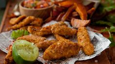 Oatie Chicken Goujons with Sweet Potato Wedges. This dish is fun and easy to make -the healthier way to eat chicken goujons.