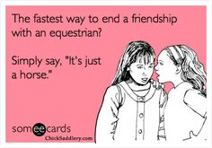 "The fastest way to end a friendship with an equestrian? Simply say, ""It's just a horse."""