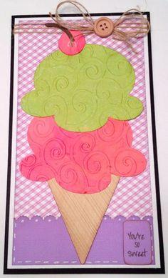 Ice Cream Cone Card 1.  Cricut cartridge-  Once Upon a Princess.