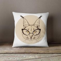 Cat Hipster Decorative Throw Pillow Cover Pillowcase Design Pillow Case Birthday Gift Idea Him Her Home Decor Animal Hipster Fashion Kitten : Cat Hipster Decorative Throw Pillow Cover Pillowcase Design Pillow Case Birthday Gift Idea Him Her H Personalized Pillow Cases, Custom Pillow Cases, Throw Pillow Cases, Gifts For Pet Lovers, Pet Gifts, Cat Lovers, Designer Pillow, Designer Throw Pillows, Decorative Pillow Covers