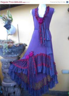 """20% OFF bohemian gypsy dress with ruffles of lace and roses.....medium to 40"""" bust..."""