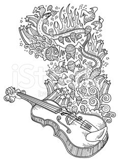 violin doodles, neat and detailed, strokes - intact - vector. Colouring Pages, Adult Coloring Pages, Violin Art, Doodles, Free Vector Art, Royalty Free Images, Color Patterns, Zentangle, Quilts
