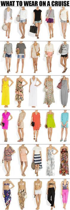 What to wear on a cruise.  Image extract from website which I forgotten where from.
