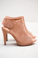 Pedro Garcia suede peep toe perforated bootie. Velcro closure.  3 1/2 inch heal.