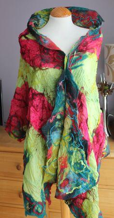 Green jade red nuno felted silk & wool reversible shawl by Angelab5705.