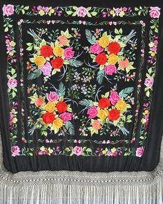 Hand embroidered silk piano shawl