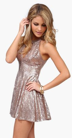 Rose gold sequins - the perfect NYE dress.