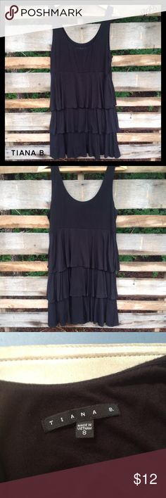 Tianna B. BLack Sleeveless layered Ruffle Dress 🌼 Tianna B. Black layered Ruffle Sleeveless Dress / Simple and comfortable / 96% rayon and 6% spandex Tiana B. Dresses