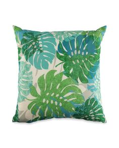 Indoor/Outdoor Palm Leaf Print Pillow