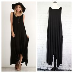 """Sleeveless black maxi has a loose, comfortable fit with an asymmetrical hemline and outer side pockets. Dress is constructed of wide panels that flare from top to hem. Fabric is a soft, stretchy jersey. Measurements laying flat: armpit to armpit - S 15.5"""", M 16.5"""", L 18"""", XL 19.5"""", shoulder to hem at point - S 50"""", M 50"""", L 50"""", XL 50"""", neck to center hem - S 36.5"""", M 37"""", L 37.5"""", XL 38"""""""