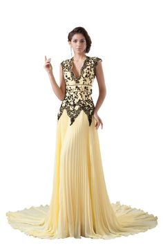 herafa p32547-2 Evening Gowns Elegant V-Neck Sleeveless Hand-Sewn Beads Lace Applique Long 0 A-Line Yellow $248.00
