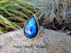 Teardrop Labradorite gemstone, fine and sterling silver ring. -  - McKee Jewelry Designs - 1