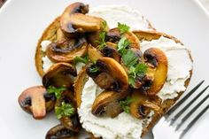 Lemony ricotta and mushroom toast recipe, NZ Herald – A delicious twist on the traditional mushrooms on toast perfect as a snack or light meal - Eat Well (formerly Bite) Mushroom Toast, Ciabatta, Vegetarian Cheese, Light Recipes, Ricotta, Holiday Recipes, Fries, Stuffed Mushrooms, Brunch