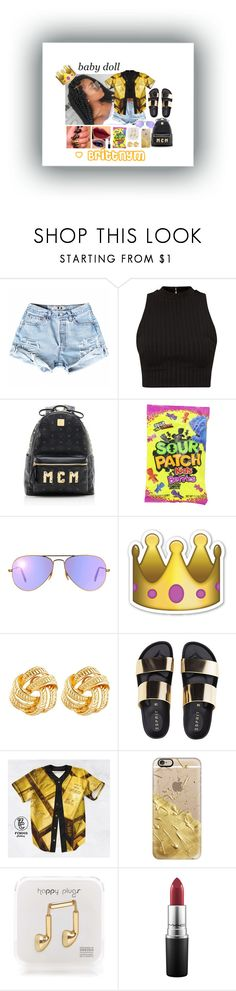 """""""@Brittnym Gold & Black"""" by brittnym ❤ liked on Polyvore featuring MCM, Ray-Ban, Susan Shaw, Casetify, Happy Plugs and MAC Cosmetics"""