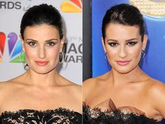 Idina Menzel & Lea Michele     Look-a-Likes on People.com no wonder she was picked to be her mom on Glee!