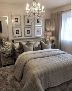 Master bedroom makeover with home office nesting with grace 19 Gray Bedroom, Master Bedroom Design, Trendy Bedroom, Bedroom Bed, Modern Bedroom, Bedroom Ideas, Master Bedrooms, Couple Bedroom, Silver Bedroom Decor