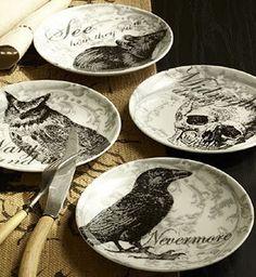 halloween theme modgepodge plates - scary owls - ravens - skulls - halloween decor - tabletop halloween decor #halloween #modgepodge  #halloweendishes
