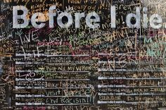 """before I die I want to ...""   this is incredible -- a woman in new orleans turned the side of an abandoned house in New Orleans into a giant chalkboard where people can share their hopes and dreams."