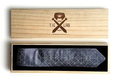 Laser etched wood necktie box. Super fancy tie gift by Cyberoptix