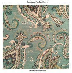 Seaspray Paisley Print Fabric SWATCH