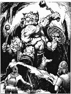 Two fomorian giants, as ugly on the inside as on the outside. (Jeff Easley, from AD&D module S4: The Lost Caverns of Tsojcanth, by Gary Gygax, TSR, 1982.)