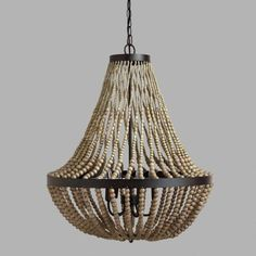 Large Wood Bead Chandelier - v1 $269 great reviews greyer than ponto and tad darker plus$15%
