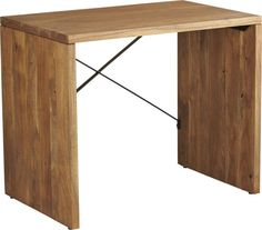 rustic ridge.  Handsome table for the entryway or office multitasks in sustainable warm acacia wood accented by iron cross bars.  Stands at the perfect height to store our TPS file cabinets and a desk chair underneath. Solid acacia wood with lacquer finishIron cross barsClean with soft clothMade in India.