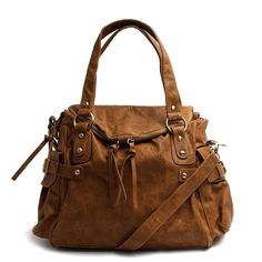 Brown Faux Leather Satchel