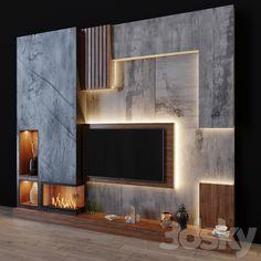 Lcd Wall Design, Feature Wall Design, Tv Set Design, Modern Tv Unit Designs, Modern Tv Wall Units, Living Room Tv Unit Designs, Bedroom Door Design, Home Room Design, Modern Bedroom Design